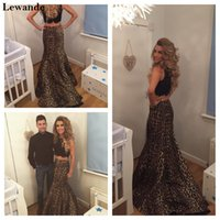 Wholesale Dress Long Back Leopard - Halter Beaded Leopard Print Two Piece Senior Prom Dress Long Pattern Pageant Evening Gown Mermaid Taffeta Sweep Train Skirt Lewande 32105