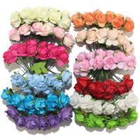 Wholesale Diy Wedding Flower - 1cm Single Head 12colors Artificial Flower Bouquet Paper Rose DIY For Scrapbooking Wedding decoration (144pcs lot)