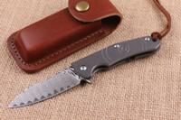 facas de bolso de damasco de ponta venda por atacado-High End 2016 Novo Design Damasco Flipper faca dobrável 60HRC Lâmina TC4 Titanium Handle EDC Canivetes Presente faca dobrável