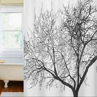 ingrosso scenario bianco nero-Black Scenery Tree Design Bagno impermeabile Nuovo Arriva Retro minimalista Nero bianco colori Tende da doccia Tende da doccia in tessuto
