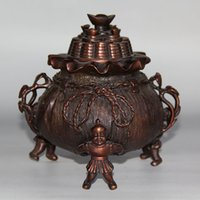 Wholesale Antique Carved Boy - Chinese carving Pure bronze boy aroma stove censers statue home decoration