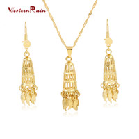 Wholesale Large Brass - Westernrain 24K Gold Plating Fashionable Jewelry Set Bridal Large Pendant Light Weight Women Jewelry Set For Weddings G678