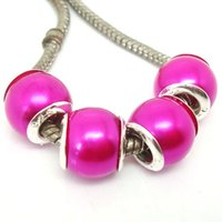 Wholesale Plastic Rose Beads - 100PCS Lot Beautiful Rose Color Imitation Pearl Silver core Beads loose European Big Hole Acrylic Charm Beads for Jewelry Making Low Price