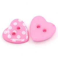 100PCs Pink Love Heart Shaped Смола Швейные кнопки Scrapbooking White Dots Pattern DIY Crafts Accessories 15x14mm