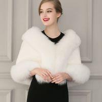 Wholesale bolero white fur capes resale online - Black Fur Bolero Jacket Wedding Faux Fur Wrap Shawl Winter Coat Women Prom Evening Shawls Cape Mariage Jacket Bridal Wraps And Boleros