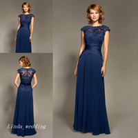 Wholesale Mark Lesley - Mark Lesley Dark Navy Blue Bridesmaid Dress Chiffon Long Formal Maid of Honor Dress For Wedding Party Gown