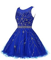 Vestido Curto 2016 Blu cristalli paillettes vestito da cocktail A-Line Scoop maniche breve mini vestito da promenade Backless Dress Homecoming