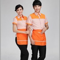 Wholesale Shirt Waiter - Wholesale-Cotton and polyester blending summer shirt short sleeve striped restaurant man and woman waiter wear orange L XL 2XL 3XL Y2016