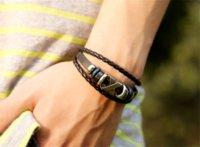 Wholesale Cross Bead Charms Cheap - 2016 Cross Charm Braided Men Bracelet Jewelry Hand Woven PU Leather Bracelets Bangles Black Wristband Cheap jewelry tube