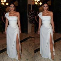 kardashian robes d'occasion spéciale achat en gros de-Kim Kardashian robes blanches Split Evening Wears en mousseline de soie une épaule 2016 Sexy robes de bal Side Cut Occasions spéciales robe