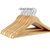 almacenamiento de abrigo al por mayor-Percha de madera Percha de abrigo para seco y mojado Tela doble Propósito Rack Non Slip Storage Supplies Eco Friendly 1 8sq CB