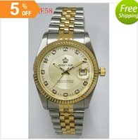 Wholesale Reginald Brand Watches - hongkong post new brand china crown reginald date stainless one tone diamonds gold compass calendar date casual unisex quartz watches