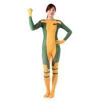 traje de spandex pícaro al por mayor-Envío gratis mujer amarilla Rogue Full Body Zentai traje Lycra Spandex Halloween mujer Rogue Cosplay disfraces para mujeres