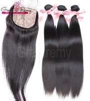 Wholesale baby base resale online - 4pcs Straight Brazilian Hair with Silk Base Top Closure Baby Hair Brazilian Virgin Bundles with Lace Closure Human Hair Greatremy