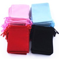 Wholesale Velvet Drawstring Jewelry Pouch - Free shipping 100pcs Lot 90*70mm 4 Colors Gift Velvet Wedding Drawstring Pouches Bags