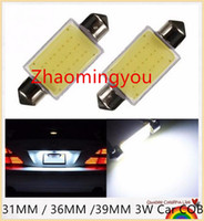 Wholesale Bulb 36mm 3w - 20PCS 2016 New Festoon COB 31MM   36MM  39MM 3W Car COB chips LED Bulbs Interior Dome Festoon Lights White 12V