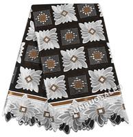 ingrosso pietre del giardino nero-The Best Smooth 100% cotone tessuto africano del merletto svizzero voile pizzo Nigeria giardino abbigliamento con un sacco di pietre nero bianco