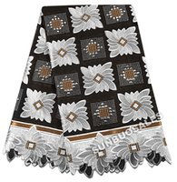 Wholesale White Swiss Cotton Voile Lace - The Best Smooth 100% Cotton African Lace Fabric Swiss Voile Lace Nigeria garden Clothing With Lots of stones Black White
