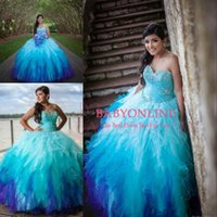 Wholesale Sexy Orange Colored Dresses - 2016 Blue Sweetheart Rainbow Colored Quinceanera Dresses Crystal Beading Tulle Ruffle Skirt Ombre Sweet 15 Ball Gown Long Prom Gowns