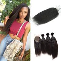 18 cheveux 1pc achat en gros de-Malaisienne Remy Virgin Hair Weave 3 pcs Trame de cheveux avec 1pc Free Partie Dentelle Fermeture Kinky Droite Extension de cheveux humains G-EASY