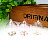 Wholesale Glass Globe Necklace - 25*15mm clear glass globe bottle with SILVER base findings empty glass dome cover glass vial pendant charms handmade jewelry findings