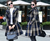Wholesale Skirted Trench - Fashion Plus Size Women Plaid Wool Coat Korean Loose Oversize Woolen Outwear Midi Wool Blends Trench Coat Autumn Winter Overcoat Size XL-4XL