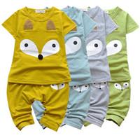 Wholesale Children Fox Costumes - PrettyBaby short sleeve children clothing summer Baby Girls Boys Fox Cotton Tops T shirt Pants Leggings 2pcs Outfits Set Costume