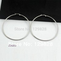 Wholesale Surgical Steel Earrings Hoops - Fashion Trendy surgical steel silver big round hoop wire earrings for women 2014 earrings different size available wholesale