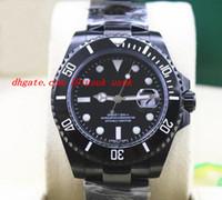 pvd de aço inoxidável venda por atacado-Relógio de Pulso de luxo 2017 NEW MENS STAINLESS STEEL PVD Revestimento CERAMIC PRETO Dial # 116610 40 MM Homens Mecânicos Automáticos Relógios de Qualidade Superior
