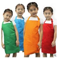 Wholesale Kids Aprons Pocket Craft Cooking Aprons Baking Art Painting Aprons baby Kitchen Dining Bib Children Aprons Eat overall