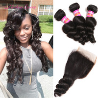 Wholesale Bulk Hair Curl - Bulk Malaysian Weave Wholesale Loose Curl human hair bundle with lace closure 1 PC Malaysian Loose Wave Closure With 3 Bundles Hair Weaves