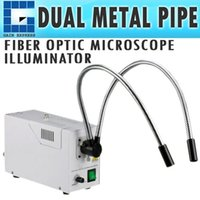 Wholesale Illuminator Optics - GX-301 DUAL Pipe Gooseneck FIBER OPTIC MICROSCOPE ILLUMINATOR with ADJUSTABLE BRIGHTNESS + 24V 150W 3200K Quartz Halogen Bulb