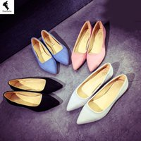 Chaussures Femme Casual Factory Pelt Formal Solid Boat Comfort Flats Fur Leisure Slip sur Low Heeled Blue White Office Marketing direct