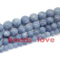ingrosso perline di lapis 12mm-Spedizione gratuita pietra naturale angelite branelli allentati del distanziatore 6 8 10 12mm filo 15