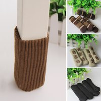 Wholesale Table Leg Floor Protectors - Newly 4PCs Furniture Chair Leg Cover Pad Anti-Slip Floor Knitting Sock Table Feet Mat Protector Chair Foot Sleeve JC0227
