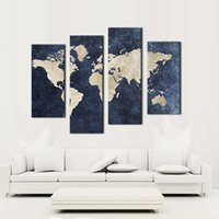 Wholesale modern abstract art oil painting - 4 panel Blue Map Canvas Painting World Map With Mazarine Background Picture Print On Canvas Wall Art For Home Modern Decoration