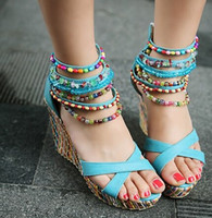 Wholesale Colorful Platforms - Fashion Rome Ankle Straps Summer Shoes High Heel Sandals Bohemia Beaded Sandals Wedges Open Toe Platform Colorful Sandals free shipping