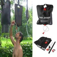 güneşli duşlar toptan satış-20L 5 Galon Kamp Yürüyüş Güneş Isıtmalı Kampı Duş Çanta Duş Su Torbası Balıkçılık Kamp Piknik BARBEKÜ Yürüyüş Su Depolama 6 P PVC