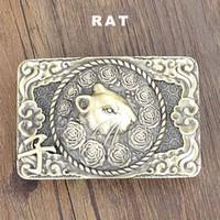 Wholesale Bronze Rat - Design Solid Brass Metal Slide Buckles Fit for 3.6-4.0cm Width Belt Unique Chinese Zodiac 3D Rat Animals Men's Smooth Belts Buckle BUK0001