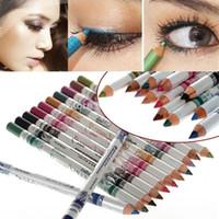 Wholesale Eye Lip Pencil Sets - 500sets (12Pcs set) 12 Colors Glitter Lip Liner Eye Shadow Eyeliner Pencil Pen Cosmetic Makeup Set Eyeshadow