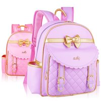 Big / Small Bowknot Pattern Student Backpack Niños Pupil School Bag Girl Bags Nylon o PU Mochilas de cuero Niños Bookbag KBB046