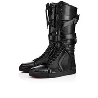 Wholesale Cool Leather Mens Boots - New Items!Mens black genuine leather sports boots cool man flat red bottom Sporty Dude Flat zipper with nails,buckle knee boots for man