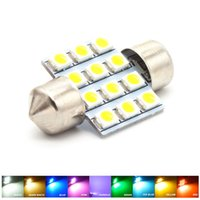 Wholesale Smd Red Led 31mm - 31MM 12 SMD 3528 LED White Warm Green Blue Pink Red Purple Iceblue Yellow Light Dome Map Door Festoon 3022 Bulb DC 12V