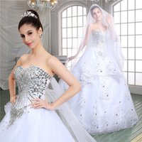 Wholesale Organza Veils - 2017 Sweetheart Saudi Arabic Crystals Lace Wedding Dresses Lace Up Back Appliques Ball Gown Sequined Organza Bridal Gowns With Veil