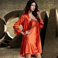 Wholesale Robe Set Red - Twinset Women Robe Sets Emulation Silk Robes Three Quarter Sleeve Lace Bathrobes Mini Spring Nightdress 1521