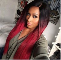Wholesale Red Straight Wig - Charming ombre black to wine red women's hair beauty 60cm long straight full wig & Free Shipping