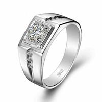 elmas sonsuzluğu toptan satış-Bir elmas yüzük infinity benzetmek için 100% gümüş Top Halka Erkekler yüzük Alyans