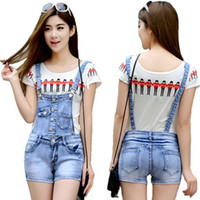 Wholesale Suspender Jeans Women - Wholesale-Casual Denim Jumpsuit Worksuit Women Shorts Jeans Overalls For Women Denim Romper Spaghetti Strap Female Jumpsuit Suspenders
