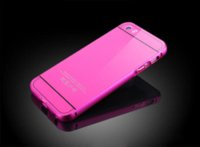Wholesale Iphone5g Back Cover - for iphone5 iphone5G iphone5S iphone 5 5G 5S 2in1 Metal Aluminum Case + Acrylic Phone Protective hard Back Cover