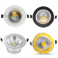 Wholesale Dimmable Cob Led Ceiling Light - (Silver White Golden Black) Dimmable Led Down Lights COB 9W 12W 15W Led Downlights Recessed Ceiling Lights AC 110-240V + Power Drivers